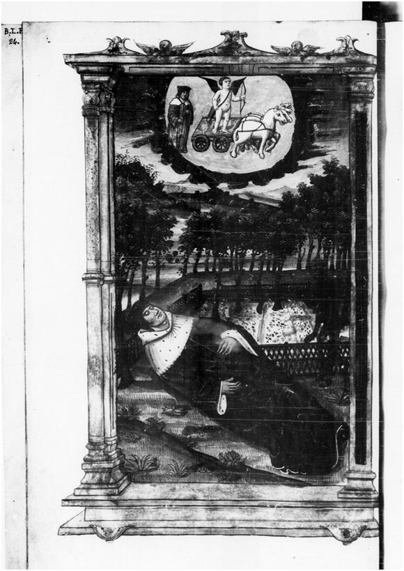 Arsenal 5065. Les Triumphes de messire Francoiz Petrarque nouvellement translatez de langaige vulgaire (con un'aggiunta in interlinea: tuscan) en françoiz.  manoscritto pergamenaceo di formato in-folio 348x212 cm;  172 carte.  Il testo, scritto con inchiostro bruno, occupa una colonna per pagina con circa ventotto righe, ed è illustrato da 33 miniature a piena pagina.