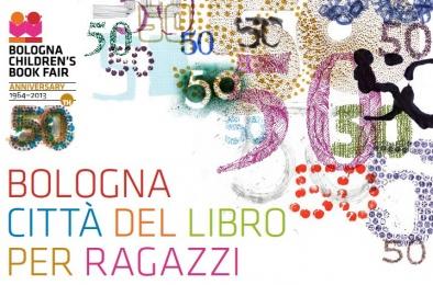 logo della Fiera del Libro di Bologna per il cinquantesimo anniversario