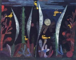 Klee-Paesaggio con uccelli gialli